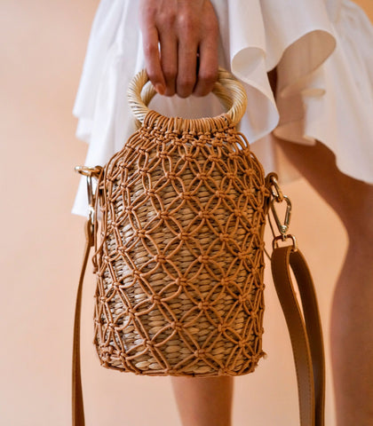 Shoulder Bag - Toulouse 4-Way Macramé Bag (Tan)