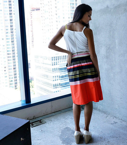 Skirt - Barcin Striped Wrap Skirt (Orange)