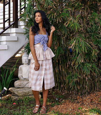 Skirt - Batken Peplum Gingham Midi Skirt
