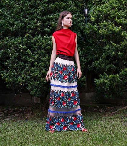 Skirt - Calasetta Embroidered Maxi Skirt