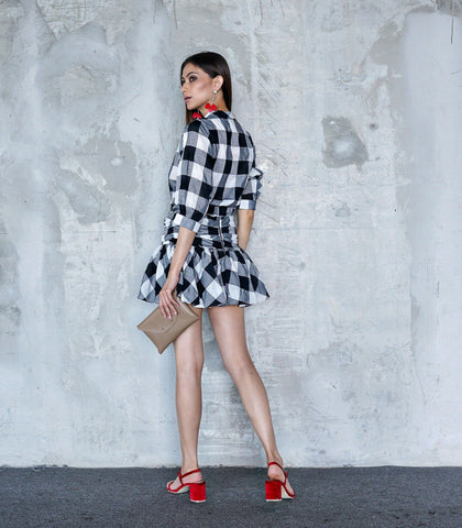 Skirt - Cezky Plaid Top And Skirt Set