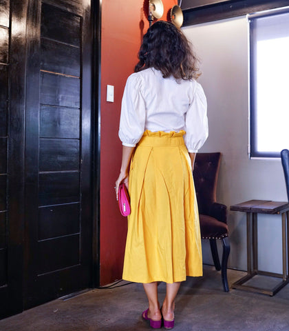 Skirt - Coari Paper Bag Waist Button-Down Midi Skirt (Marigold)
