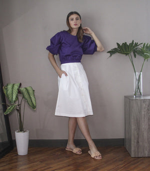 Skirt - Florence Fling Capri Button-Down Skirt (White)