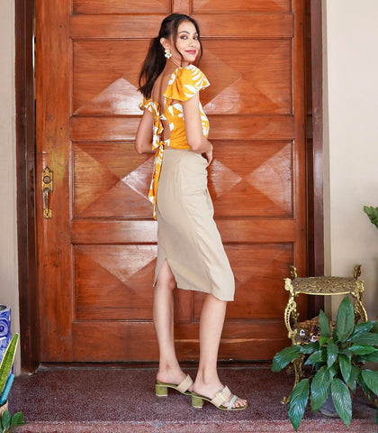 Skirt - Japa Linen Faux Wrap Knee-Length Skirt