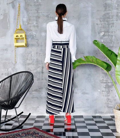 Skirt - Jean Paper Bag Waist Striped Skirt