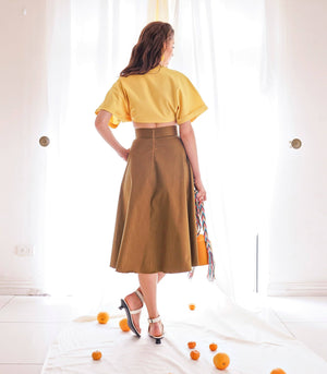 Skirt - Katerini High Waist Circle Midi Skirt (Tawny)
