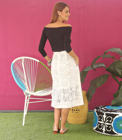 Skirt - Lamu Embroidered Hem Lace Skirt