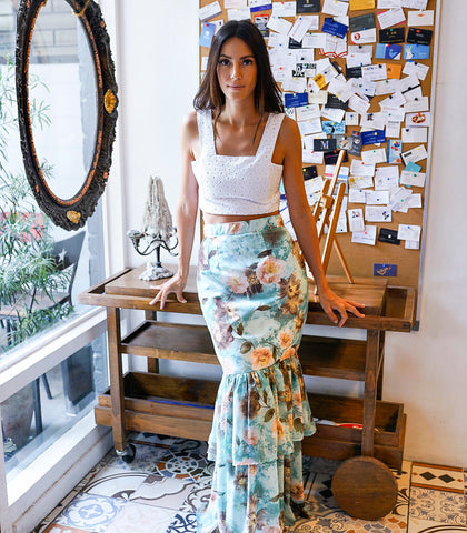 Skirt - Makaha Floral Maxi Skirt (Blue)