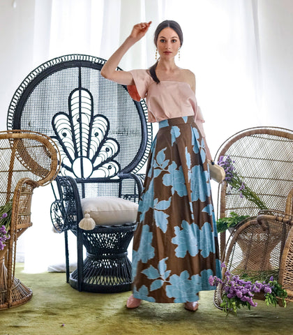 Skirt - Marimba Textured Floral Ball Skirt (Brown And Blue Floral)