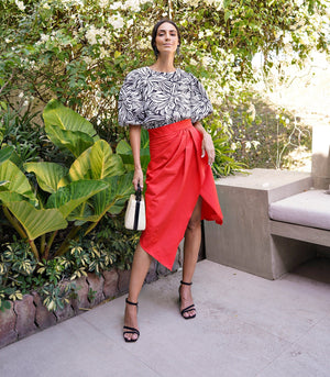 Merano Geometric Draped Skirt