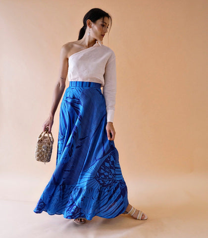 Skirt - Nicoya Digital Print Linen Tiered Maxi Skirt