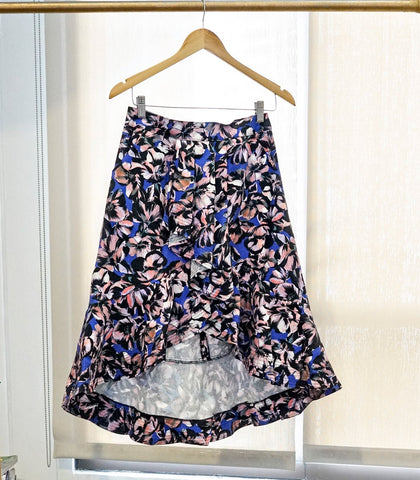 Skirt - SAMPLE 398 | Floral Faux-Wrap Pleated Skirt