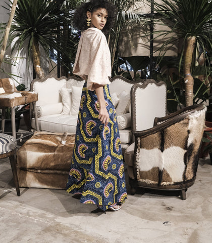Skirt - Swedru African Wax Print Wrap Skirt (Blue/Yellow)