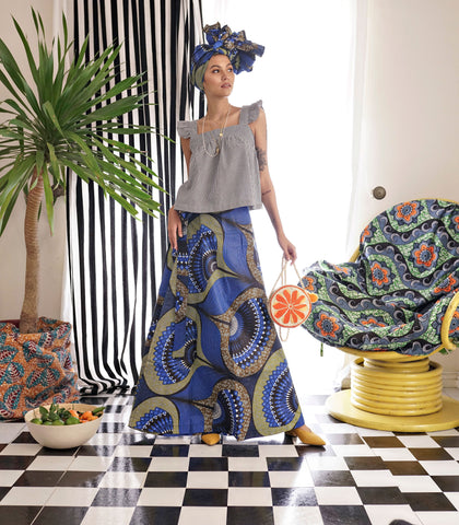 Skirt - Swedru African Wax Print Wrap Skirt (Cobalt)