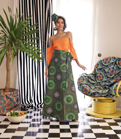 Skirt - Swedru African Wax Print Wrap Skirt (Green)