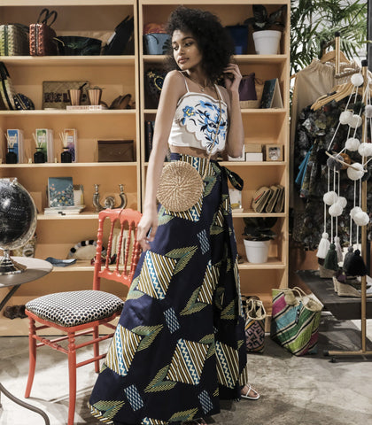 Skirt - Swedru African Wax Print Wrap Skirt (Navy/Green)