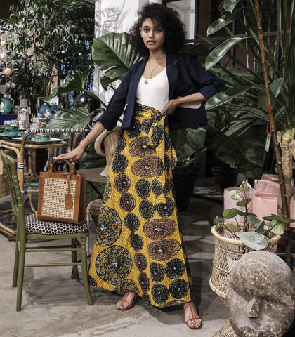 Skirt - Swedru African Wax Print Wrap Skirt (Yellow)