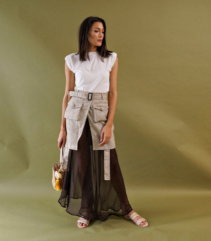Skirt - Tienen Wrap-Front Layered Skirt (Ivory Print)