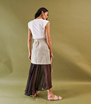 Tienen Wrap-Front Layered Skirt (Ivory Print)