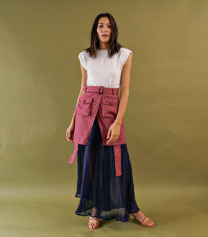 Tienen Wrap-Front Layered Skirt (Maroon Print)