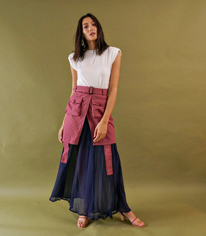 Skirt - Tienen Wrap-Front Layered Skirt (Maroon Print)