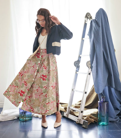 Skirt - Trikala Vintage Floral Button-Down Midi Skirt With Side Pockets