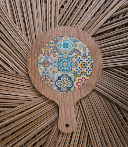 Spoon Rest - Jemel Wood And Ceramic Trivet - Round