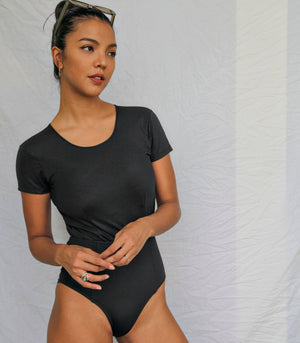 Badj Swim Calista Tee-Style Swimsuit with Cutout Back (Black)