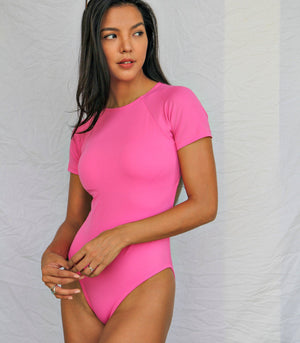 Badj Swim Calista Tee-Style Swimsuit with Cutout Back (Pink)