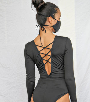 Badj Swim Long Sleeve Swimsuit with a Criss Cross Back and Mask
