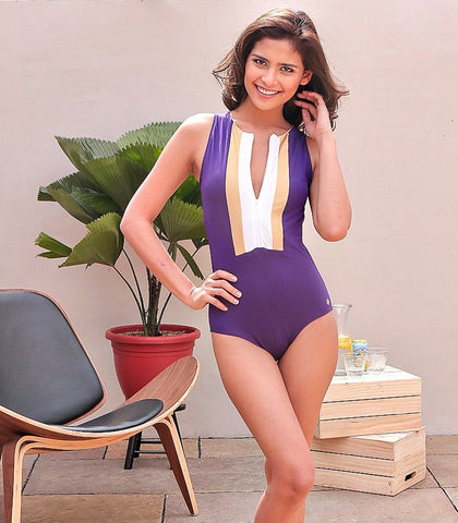 Swimwear - Celeste Purple Zip Front Maillot