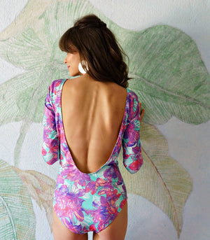 Swimwear - Escobal Open Back Maillot (Purple Floral)