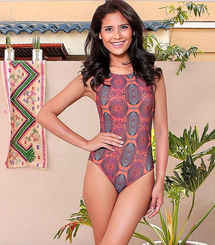 Swimwear - Penas Plum & Orange One-Piece Swimsuit