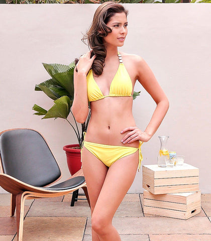 Swimwear - Sage Lemon Yellow Triangle Bikini