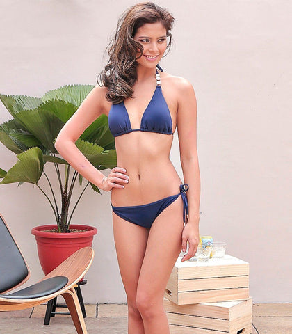 Swimwear - Sage Navy Triangle Bikini