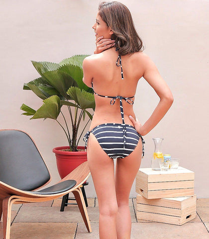 Swimwear - Sage Stripes Triangle Bikini