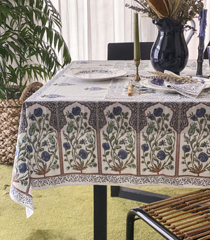 Table Cover Set - Ishwar Hand Block Printed Table Cover Set (Print E)