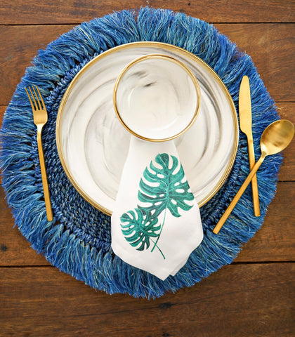 Table Napkins - Monstera Leaves Cotton & Canvas Table Napkins  - Set Of 6