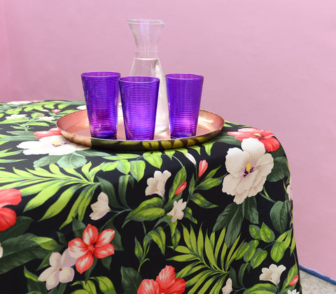 Tablecloth - Black Gumamela Tablecloth - 4 Seater