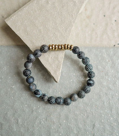 The Crystal Shop - Soul Stone Bracelet - Weathered Agate & Pyrite