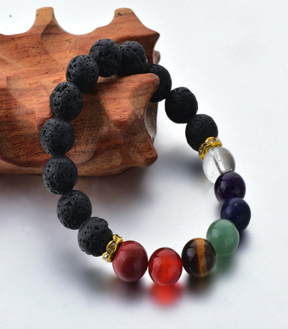 The Crystal Shop - Soul Stone Diffuser Bracelet - Black 7 Chakra (2 Sizes)
