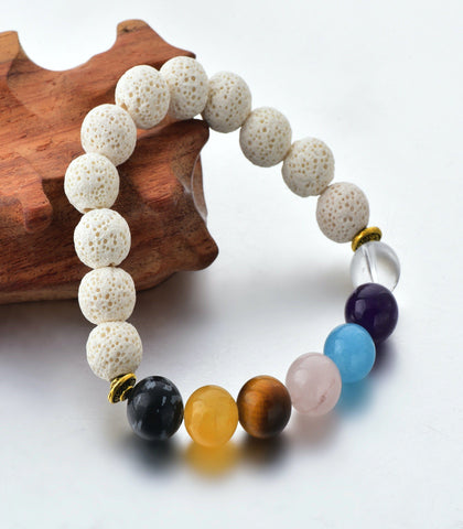 The Crystal Shop - Soul Stone Diffuser Bracelet - White 7 Chakra (10mm)