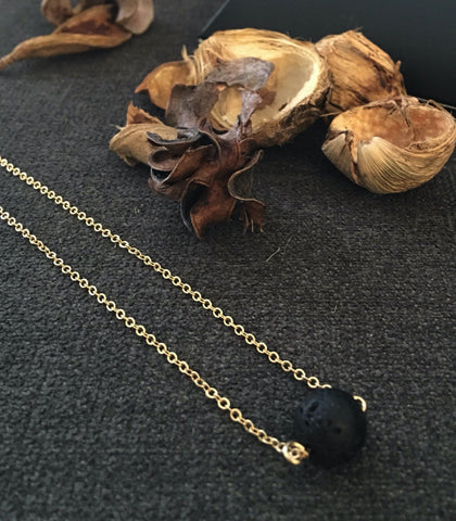 The Crystal Shop - Soul Stone Diffuser Necklace - Lava Rock Gold
