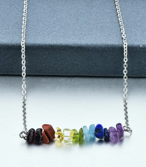 The Crystal Shop - Soul Stone Energy Bar Necklace - 7 Chakra (2 Sizes)