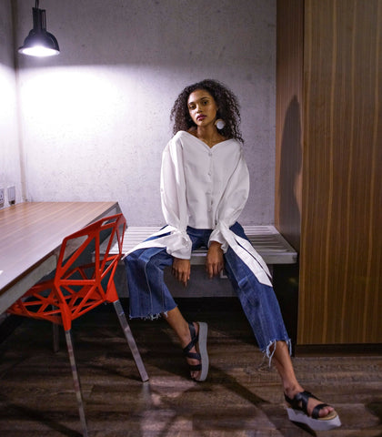 Top - Afriel Wide Neck Top With Oversized Sleeves