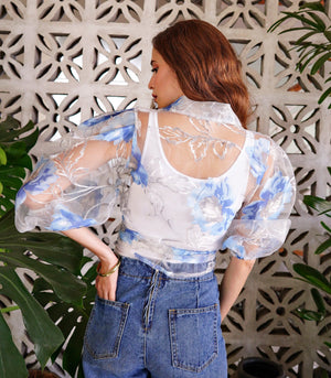 Cayey Sheer Floral Puff Sleeve Wrap Top (Azure)