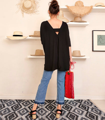 Top - Clare Black Open-Back Pullover