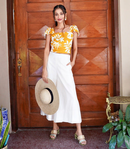 Top - Empangeni Tropical Print Flounce Sleeve Crop Top With Double Tie Back