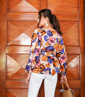 Florence Fling Frankie Wrap Top with Sash (Garden)