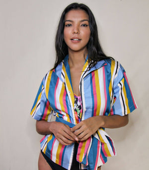 Florence Fling Sicily Kimono Top with Sash (Candy Stripes)